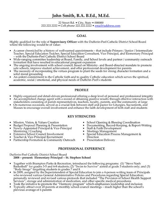 A Professional Resume Template For A Supervisory Officer Want It Download It Now Teacher Resume Template Education Resume Manager Resume