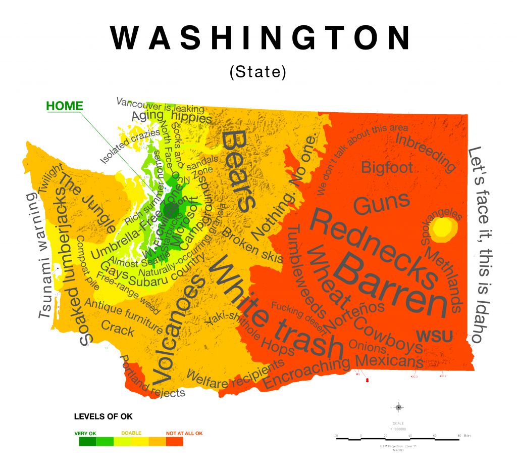 Washington State Native Plants: Map Of Washington State Stereotypes (according To Those In