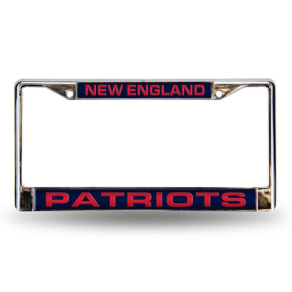 Football Fan Shop Blue Laser Chrome License Plate Frame - New England Patriots