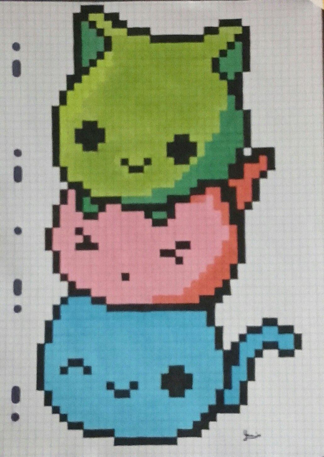 Pixel Art Chat Chibi Trois Couleurs Terminé Encré