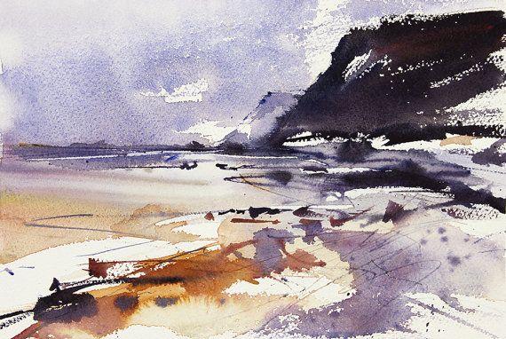 Semi Abstraite Expressive Aquarelle Paysage Marin Art Falaises
