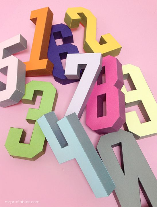 3d Number Templates Mr Printables Papercraft Templates