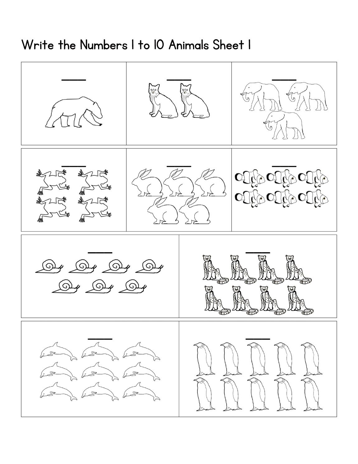 Pre K Number Worksheets Easy 1 10