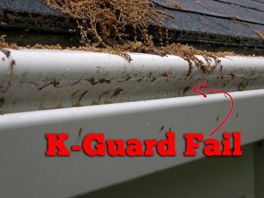 Leaves Are Not Only Sitting On Top Of This K Guard System They Are Falling Through The Opening On The System A Cleaning Gutters Gutter Protection Gutter Guard
