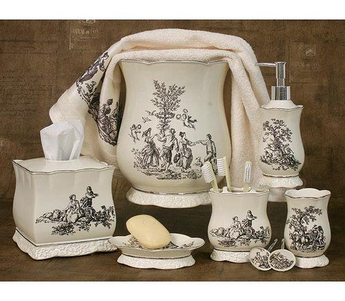 French Country Toile Bathroom Set