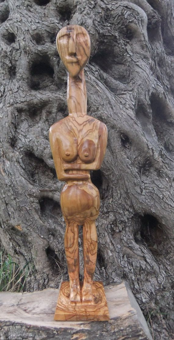 Cycladic Figure hand carved olive wood by ellenisworkshop on Etsy