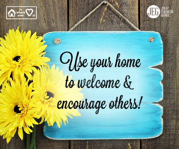 Your home is the perfect place to open your doors and your heart and devote some time and energy to helping others. Here are a few things you can do: ~Assist people who are hurting . ~Help a busy mom out with her kids . ~Befriend and mentor a student. - Elizabeth George, A Woman's Daily Walk With God