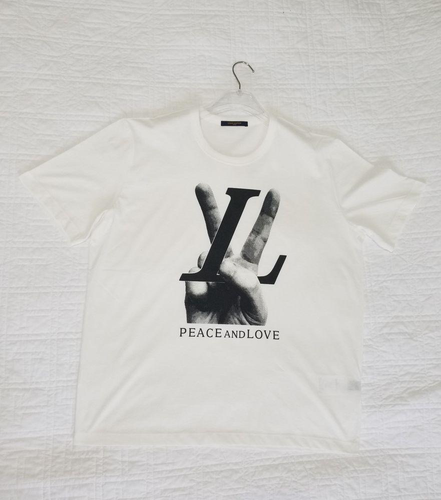 41dfff6ae232 LOUIS VUITTON HAND LV LOGO TEE SHIRT Peace and Love White Monogram Shirt  #fashion #clothing #shoes #accessories #mensclothing #shirts (ebay link)