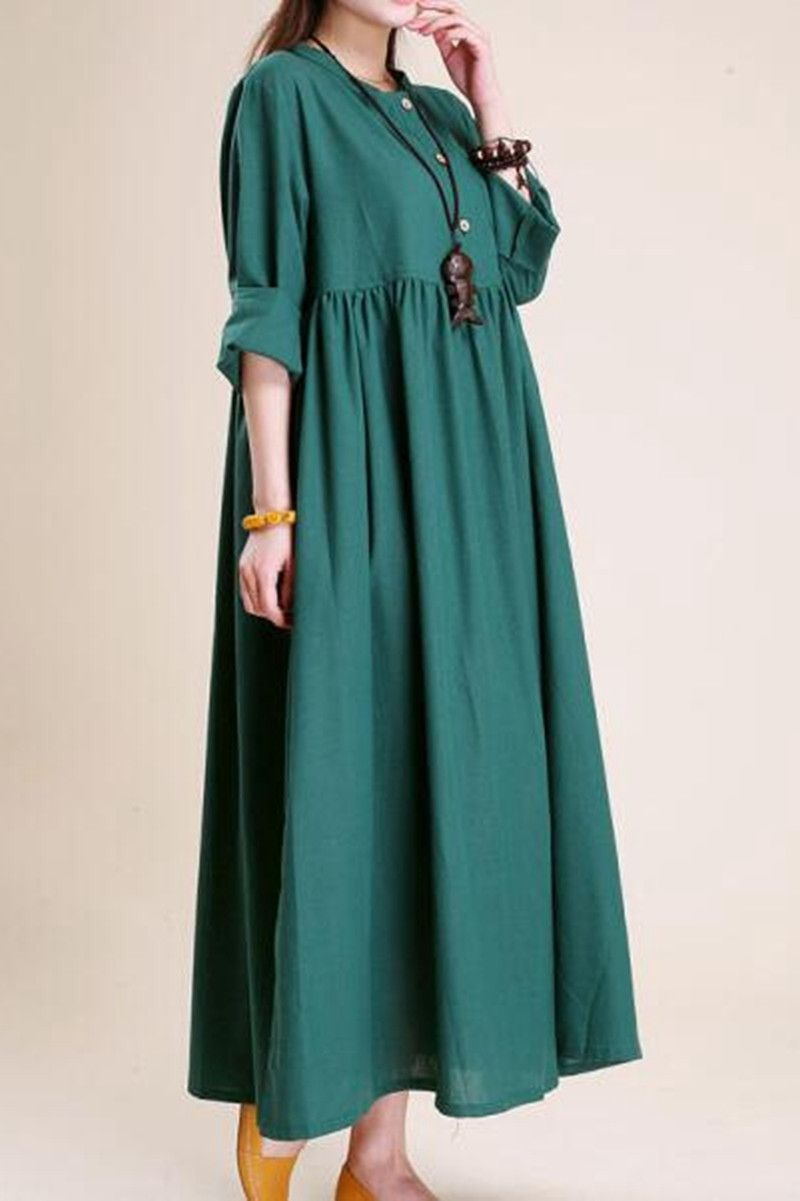 Simple atmospheric linen maxi dress women tunic clothes in
