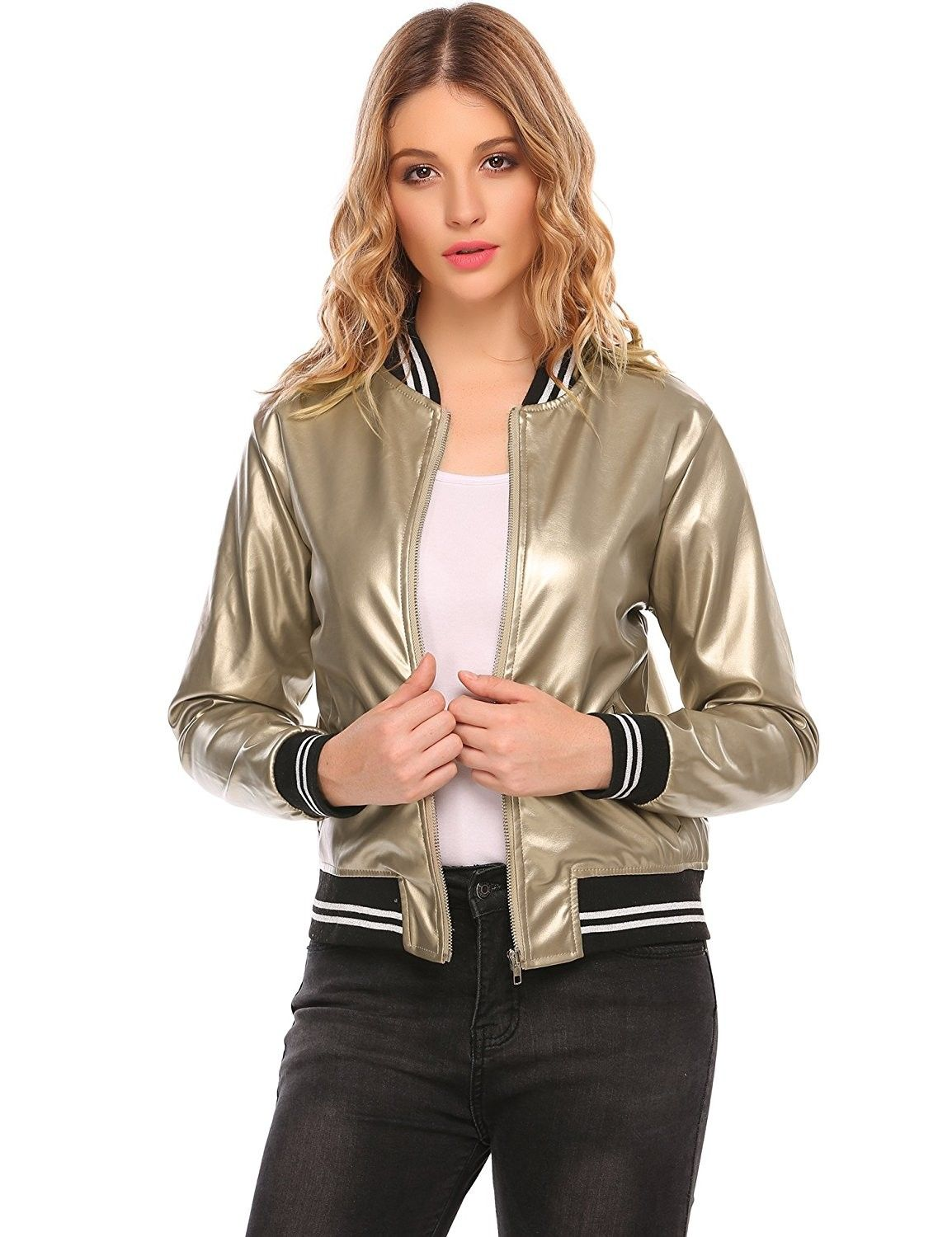 Women's Faux Leather Short Baseball Bomber Jacket Coat