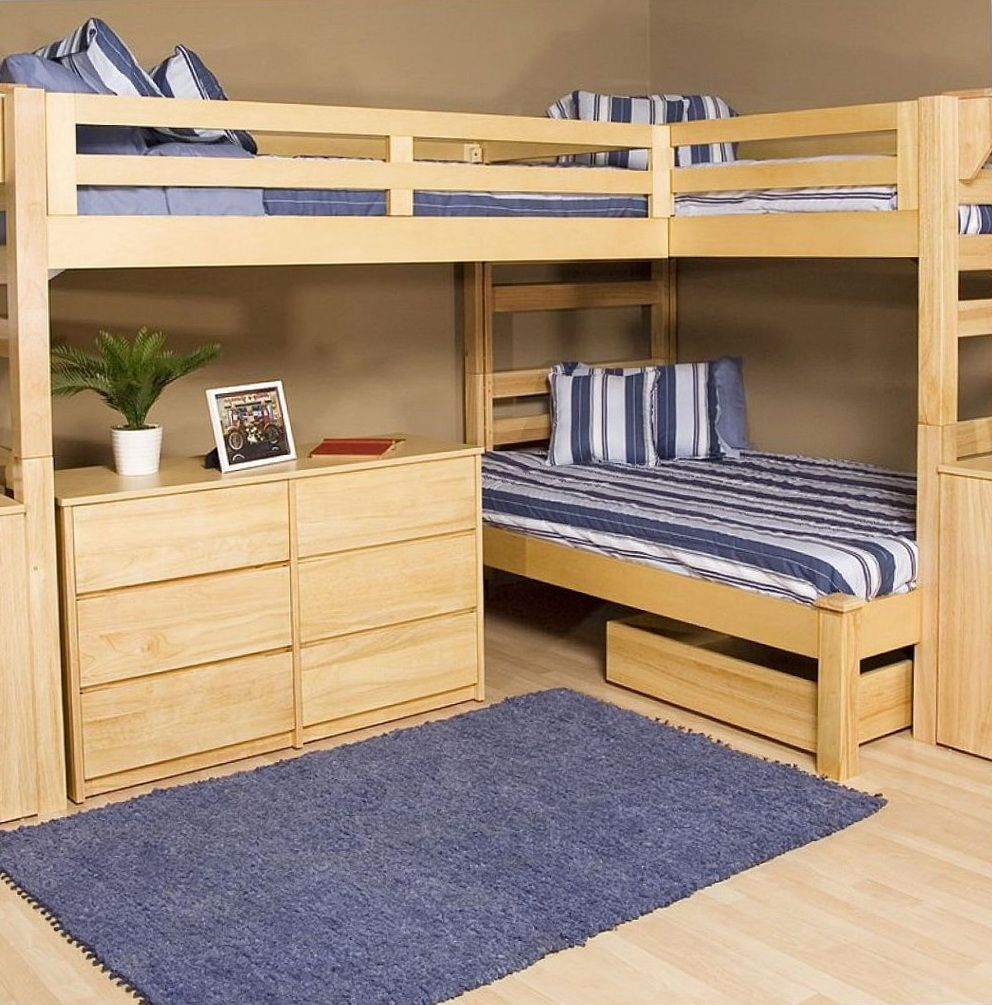 Double loft bed with desk   Interesting L Shaped Bunk Beds Design Ideas Youull Love  Small