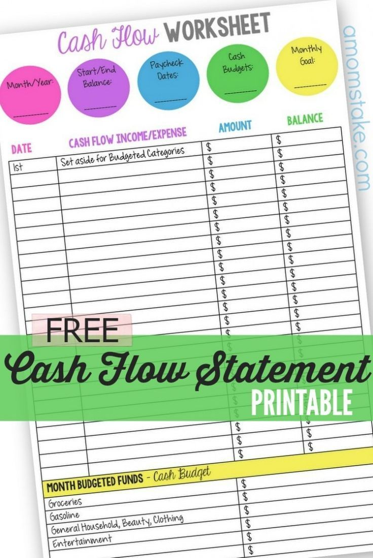 Personal Cash Flow Statement Worksheet  Cash Flow Statement