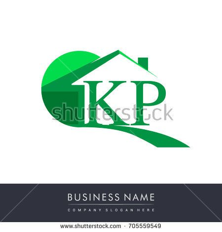 Kp Letter Roof Shape Logo Green Initial Logo Ab With House Icon