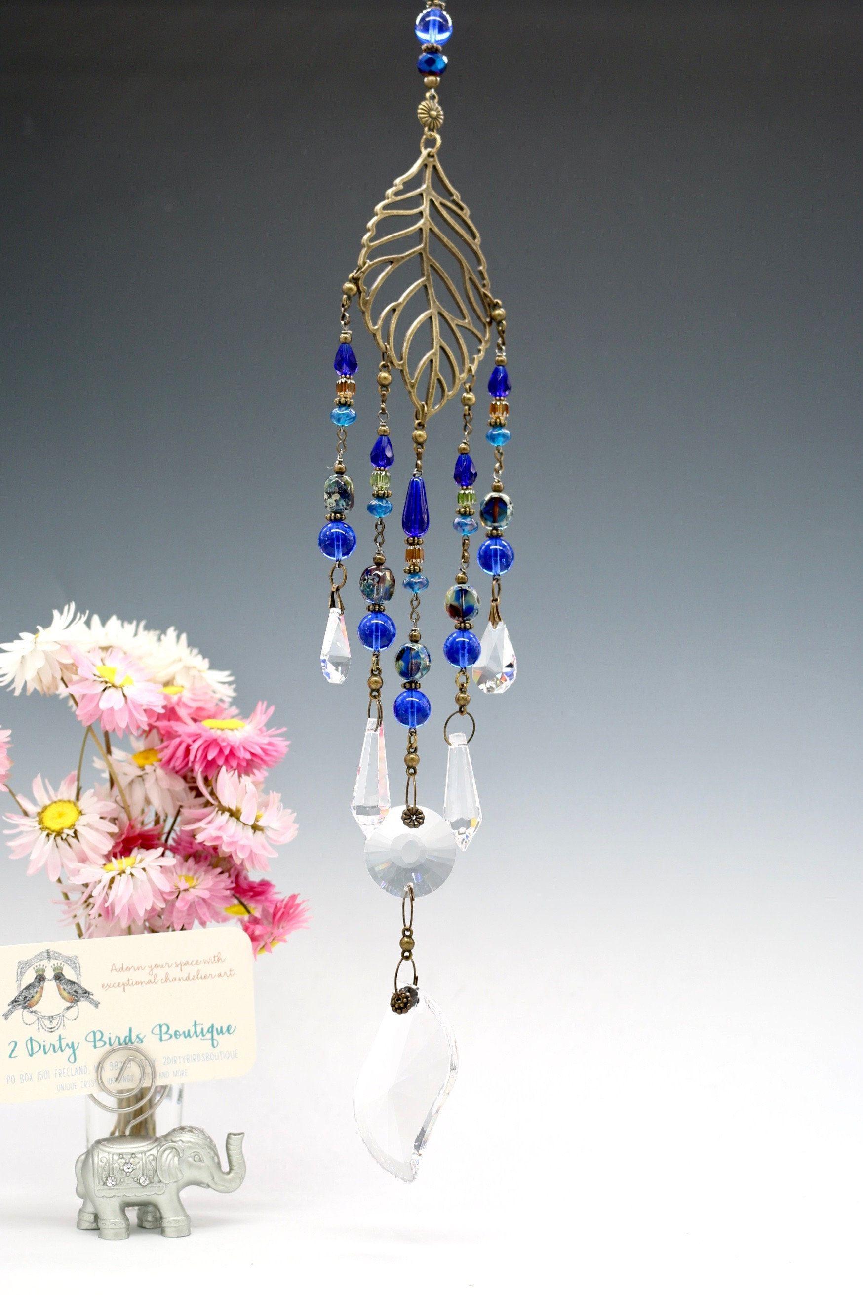 Sweet Cobalt Blue Boho Chandelier Glass Hanging Leaf Hanging Crystal Sun Catcher Boho Decor Crystal Decor Glas Glass Chandelier Hanging Crystals Boho Decor