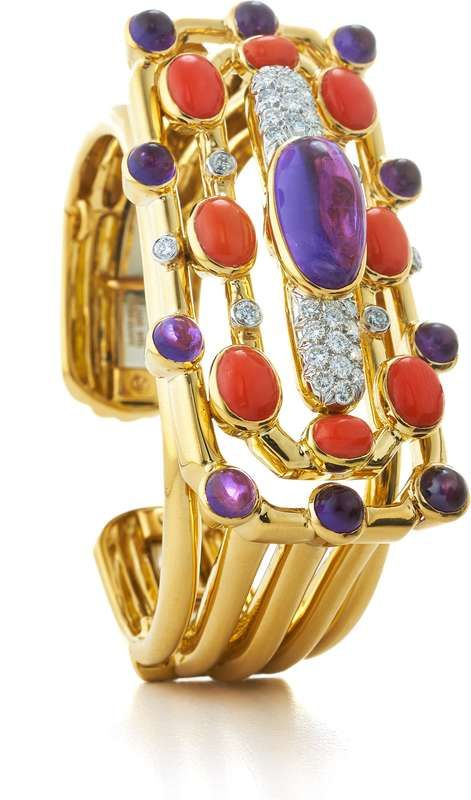 Bracelet - Cabochon amethyst and coral, brilliant-cut diamonds, polished 18K gold, and platinum | David Webb New York