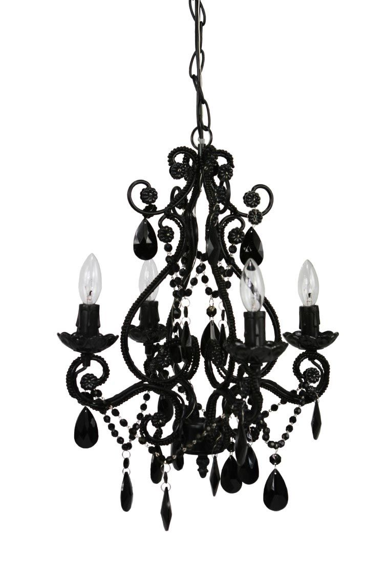 Mini Black Chandeliers With Crystals