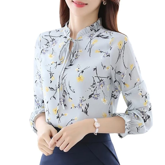 Blusas Women Tops Blouses Ladies Chiffon Long Sleeve Floral Shirt Women Slim Camisas Mujer Plus Size Chemise Femme White Black – Fashion