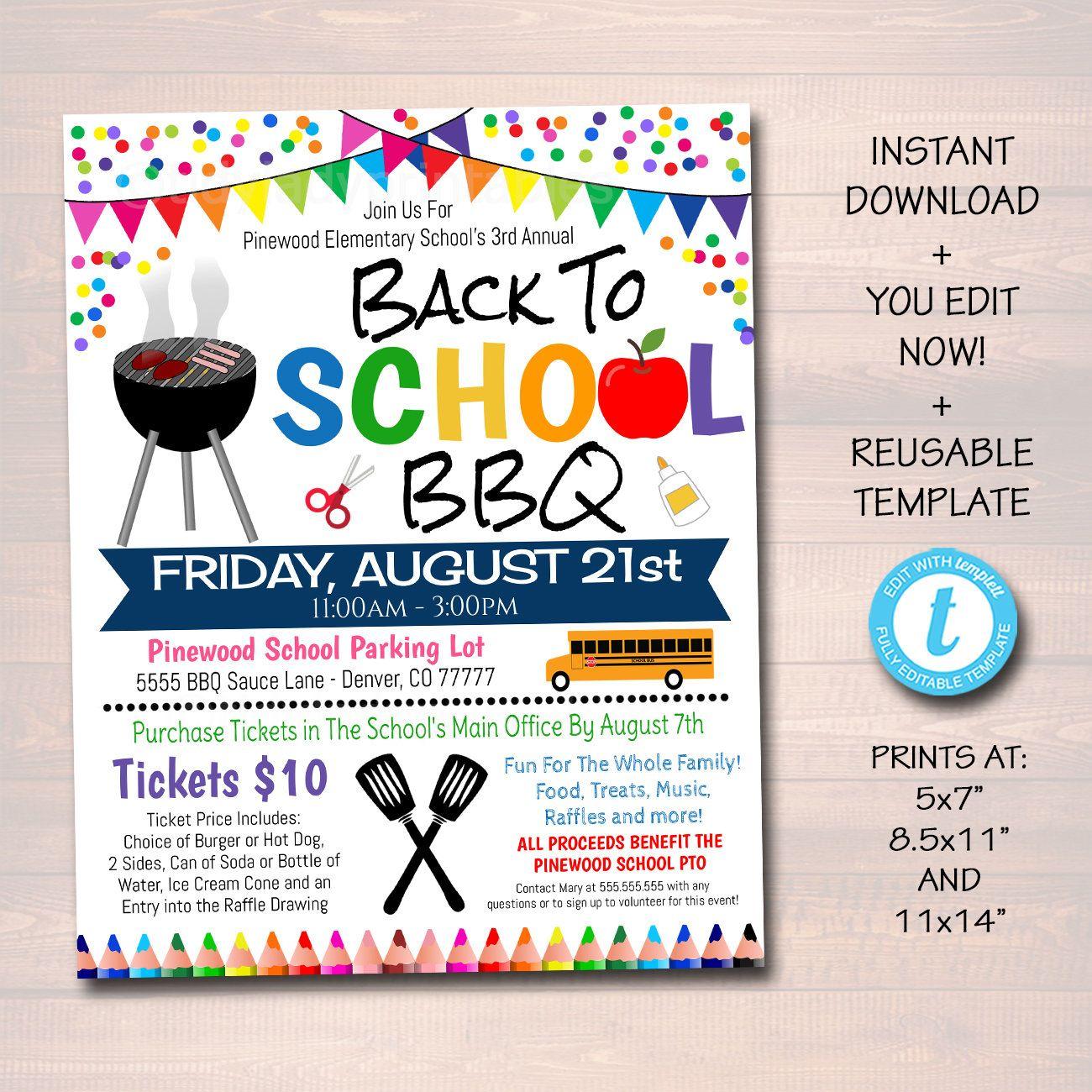 Editable School Bbq Picnic Party Invite Teacher Appreciation Etsy In 2021 Back To School Party Fundraiser Flyer Pto Fundraiser