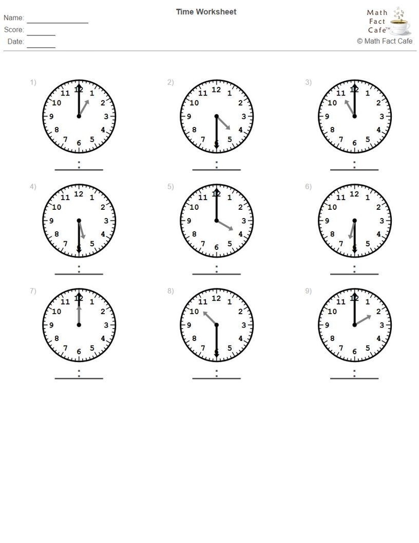 Telling Time - Half Hour Increments  Math facts, Math fact