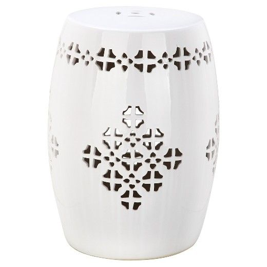 An international feeling comes with the beautiful Safavieh Quatrefoil Garden Stool. Punched through Moroccan and Asian inspired designs give this ceramic stool a light and airy feel while it remains ruggedly strong. Image a yard with ample seating where, instead of a long garden bench, you have accented little garden stools. This is a new twist on lawn decorating and it's an inspiring approach. Use these stools as a plant stand, a seat or a table. Made of ceramic, each stool is weathe...