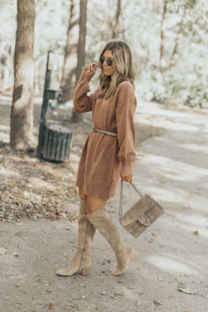 Fall Favorites: Sweater Dress & OTK Boots (Cella Jane) #sweaterdressoutfit