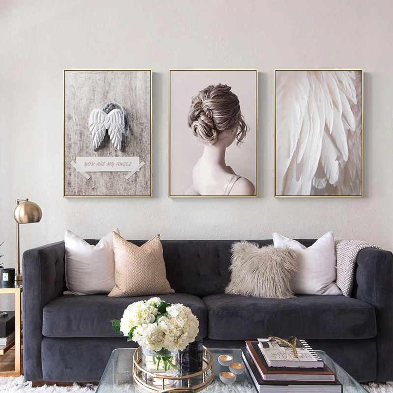 Beautiful Girl With Angels Wings Wall Art Subtle Shades Of Pink Fine Art Canvas Prints Nordicwallart C Angel Wings Wall Art Living Room Wall Rooms Home Decor
