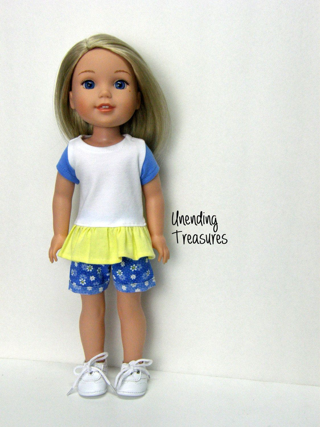 "White Blouse Top for 14.5/"" American Girl Wellie Wishers Wisher Doll Clothes"