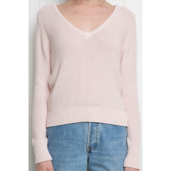 Larson Sweater ($42) ❤ liked on Polyvore featuring tops, sweaters, v neck sweater, pink v neck sweater, v-neck sweater, pink top and v neck top