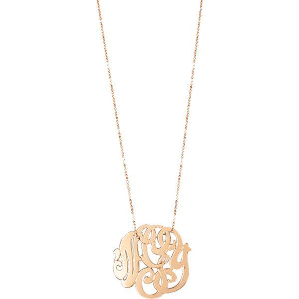 Ginette NY Rose Gold Monogram necklace vuysN5aJA