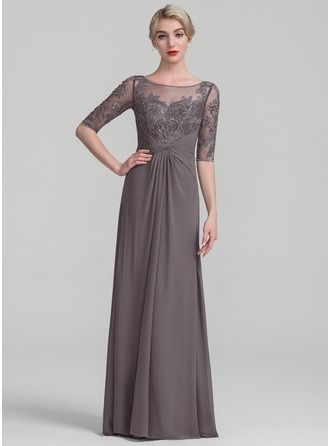 A Line Princess Scoop Neck Floor Length Chiffon Lace Mother Of The