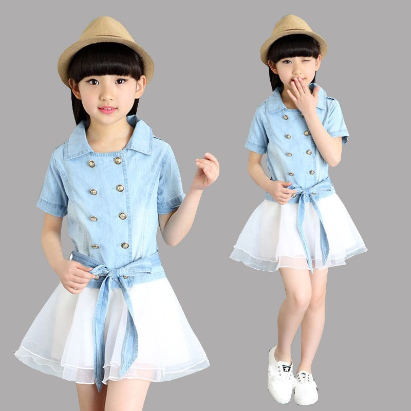 f82a84451164 Girls Outfits Summer Suits Kids Clothes Sets for Children Clothing Sets  Girls Denim Tops   Skirts Sets for 4 8 10 12 Years Girls
