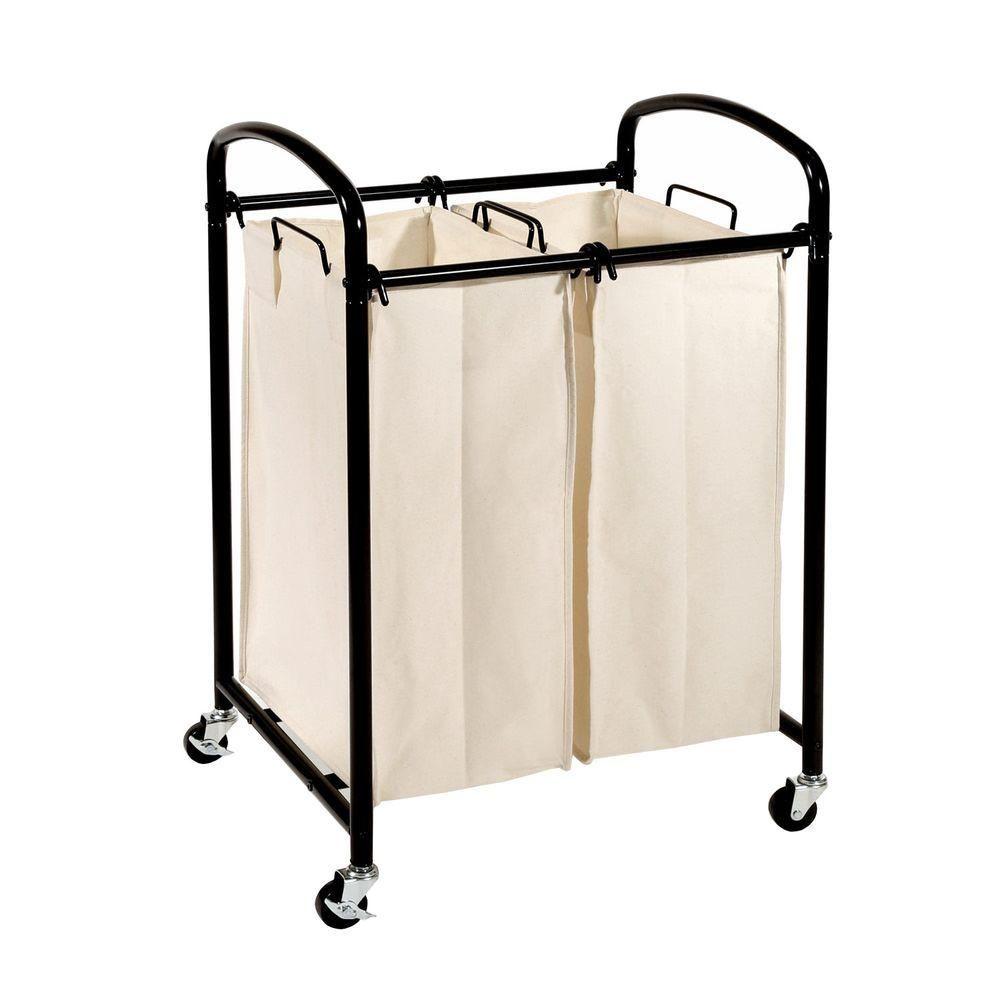 Seville Classics Mobile 2 Bag Heavy Duty Laundry Hamper Sorter
