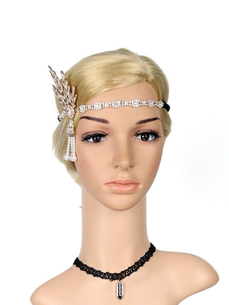1920s fringe pearl rhinestone headband in 2019 | gatsby