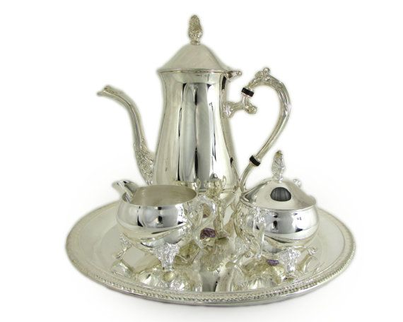 International Silver Co Silver Plated Coffee Set by WhatnotGems  sc 1 st  Pinterest & International Silver Co Silver Plated Coffee Set Embossed Shell ...