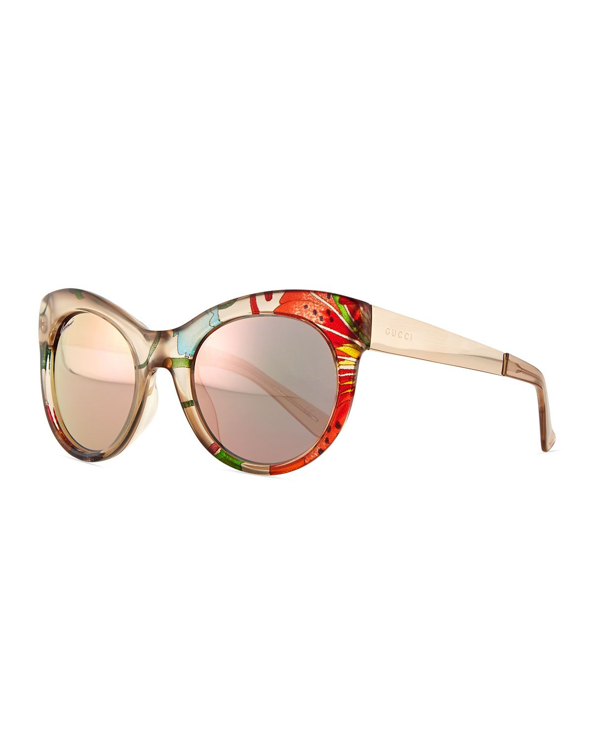 612aa3e3e Fabric-Embed Round Sunglasses Floral Beige | *Clothing Accessories ...