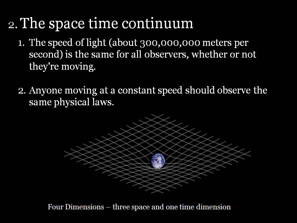 Theory Spacetime Einstein Anyone Moving At A Constant Speed Should Observe The Same Physical Laws Space Time Constant Speed Time Continuum