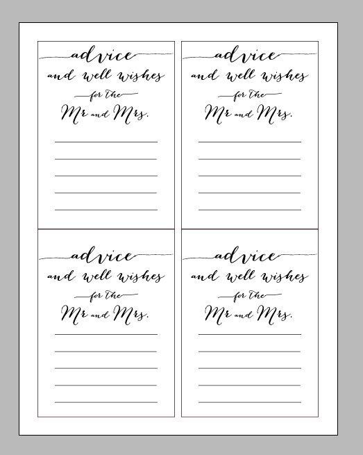 Printable Digital Wedding Advice Card Wisdom And Wishes For The Bride