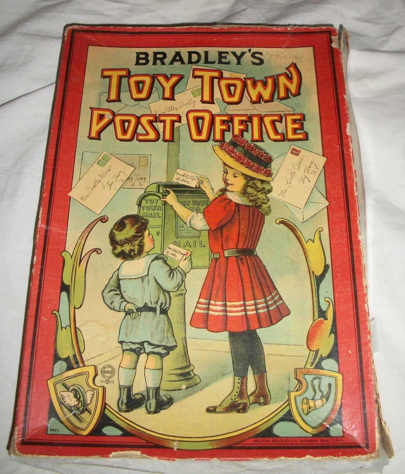 Antique Milton Bradley Toy Town Post Office in Original