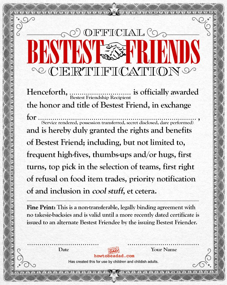 If Kids Had Legal Documents 5 Joke Templates Funny Certificates Best Friend Application Funny Awards Certificates