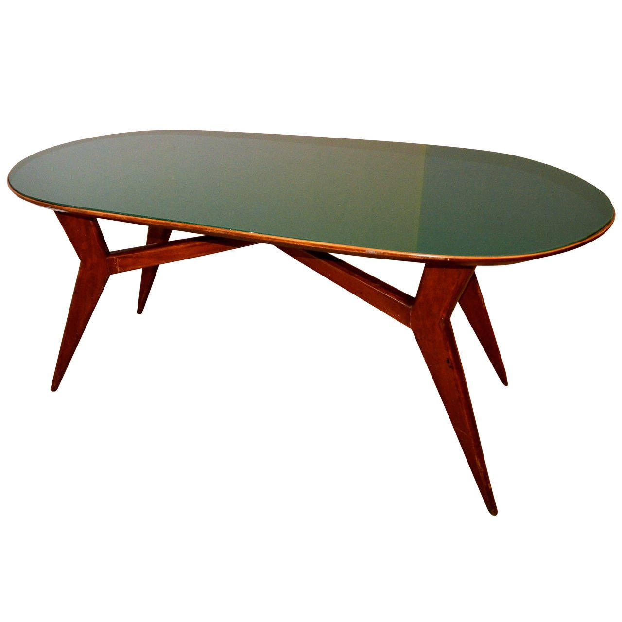 Midcentury Italian Table With Green Glassvittorio Dassi Enchanting Italian Glass Dining Room Tables Inspiration