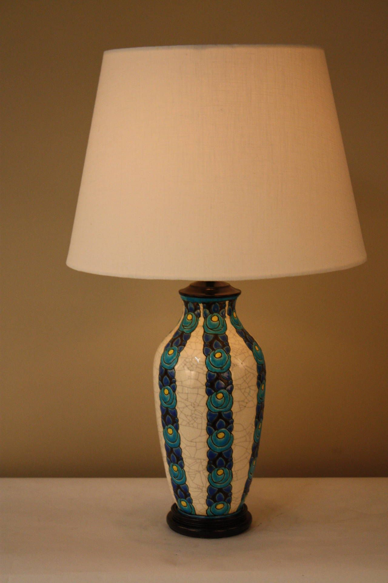 Beautiful Table Lamp Made From Belgian Boch Freres Pottery Vase