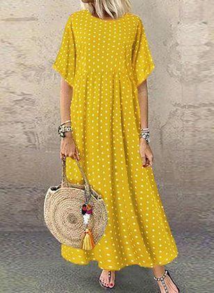 Polka Dot Tunic Round Neckline Maxi Shift Dress – Yellow / S