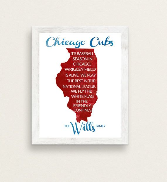 Personalized Chicago Cubs Print or Canvas in by SportingStandouts