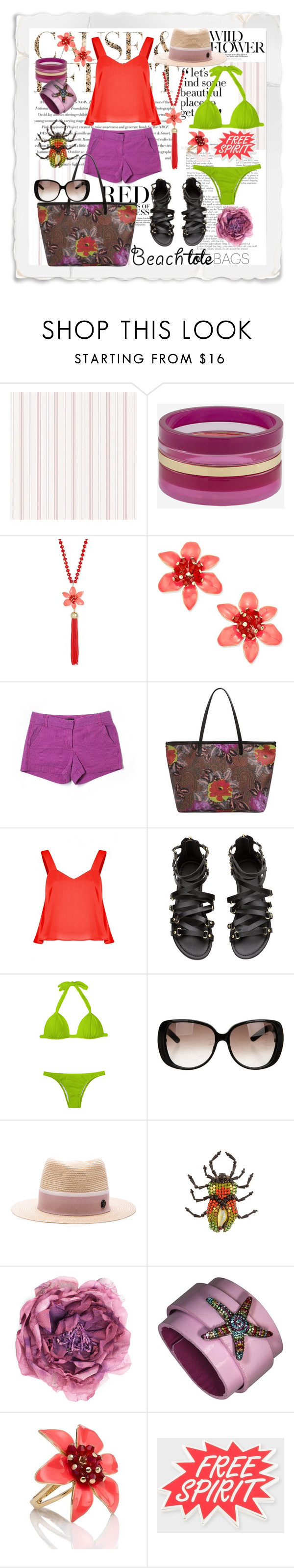 """""""beach spirit"""" by jennross76 ❤ liked on Polyvore featuring Envi, French Connection, Kate Spade, J.Crew, Etro, Gucci, Maison Michel, Paul Smith and beachtotes"""