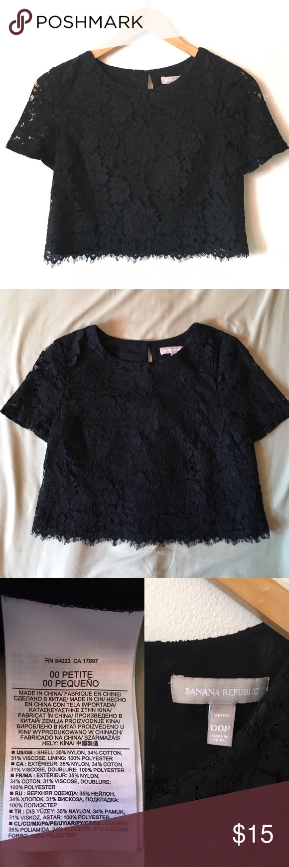 Banana Republic Lace Crop Top Crop top from Banana Republic. Adorable top for casual and work wear. I absolutely love this top but I don't fit it anymore. Great to wear with a skirt or high waisted jeans. I recommend hand washing this because the first time I had this top, it shrunk when I washed it in the machine (like a dummy) so I bought another one! Or you can dry clean it as the tag says. It's easy to hand wash anyway. Truly a size 00 PETITE. No trades! Banana Republic Tops Crop Tops