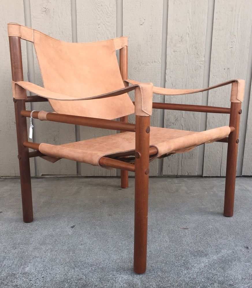Mid Century Danish Modern Arne Norell Teak And Leather Safari Lounge Chair Arnenorelldesigner