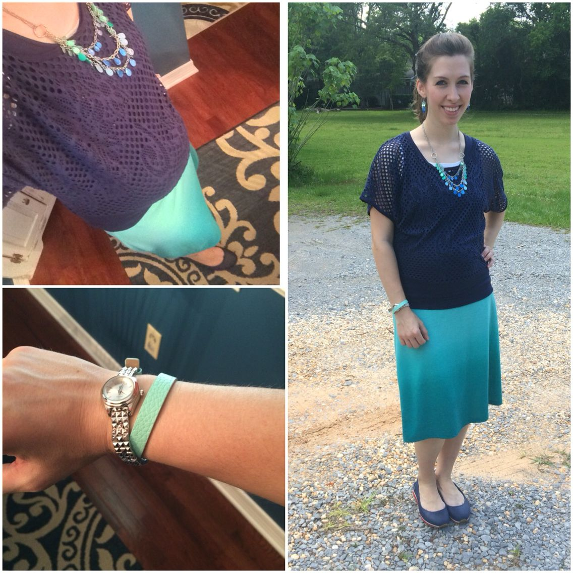 My Maternity Style Navy and Teal color blocking #31weeks