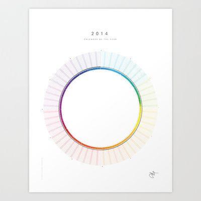 circular calendar of the year 2014 Art Print by Jonas Wyssen - circular calendar