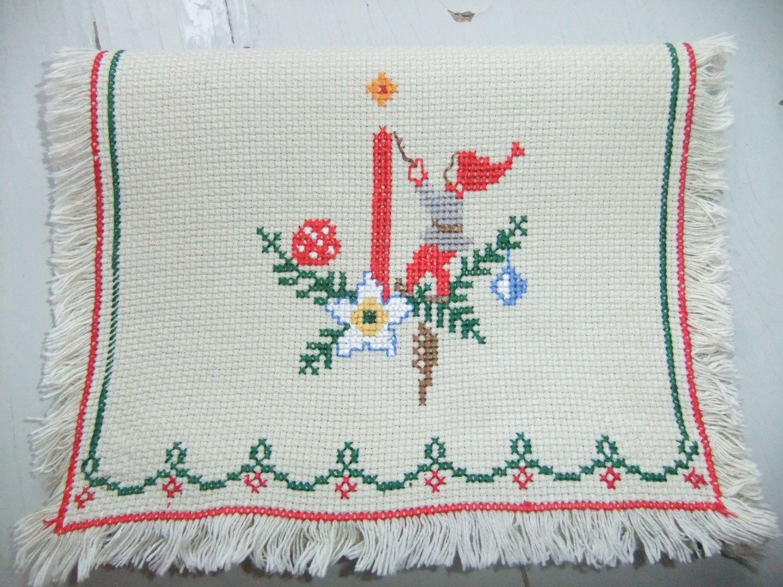 Vintage Swedish Christmas Embroidered tablecloth gnome light a ...