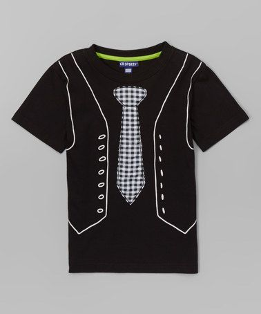 Another great find on #zulily! Black Tie & Vest Tee - Infant, Toddler & Boys by CR Sport #zulilyfinds